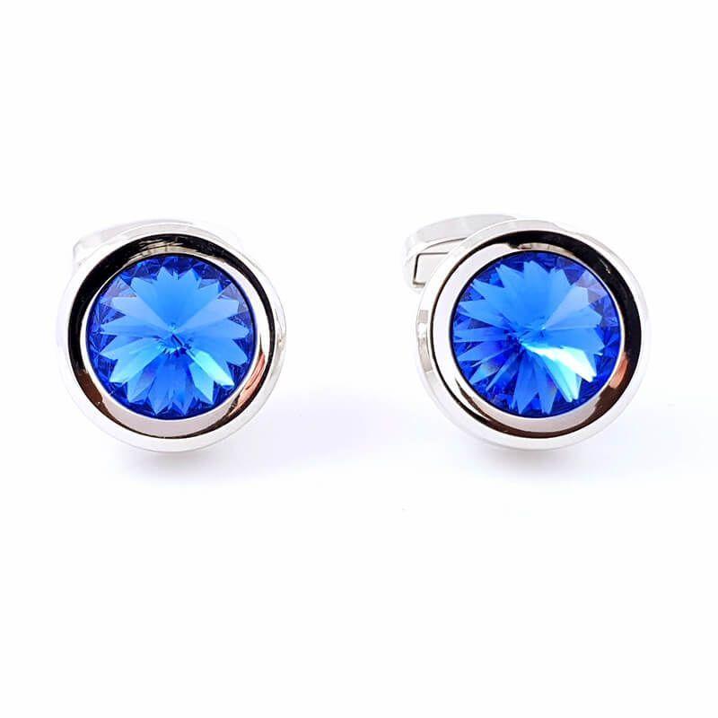 Boutons de manchette rond de couleur argent serti d'un diamant bleu ciel