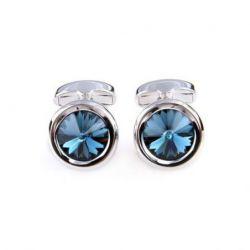 Boutons de manchette rond de couleur argent serti d'un diamant bleu