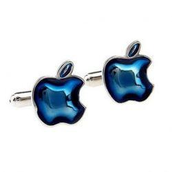 Boutons de manchette logo Apple bleu