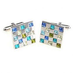 Boutons de manchette damier incrusté de cristaux bleu jaune blanc