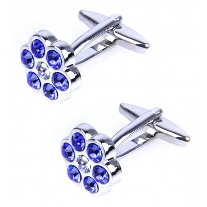 Boutons de manchette barillet incrusté de petits cristaux bleus