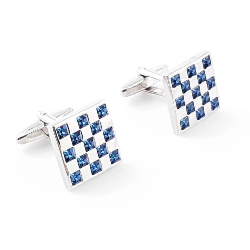 Boutons de manchette damier incrusté de petits cristaux bleus