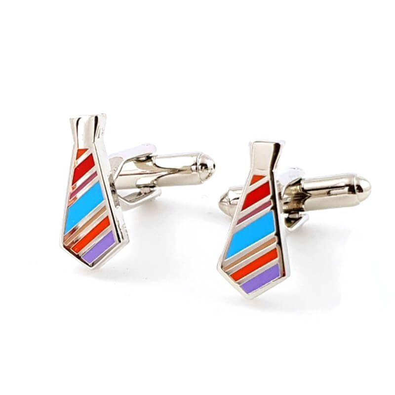 Boutons de manchette cravate à rayures colorées