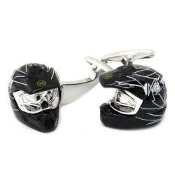 Boutons de manchette casque de moto noir