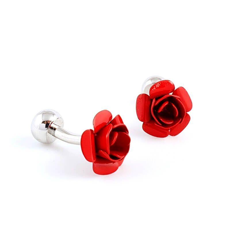 Boutons de manchette fleur rose rouge