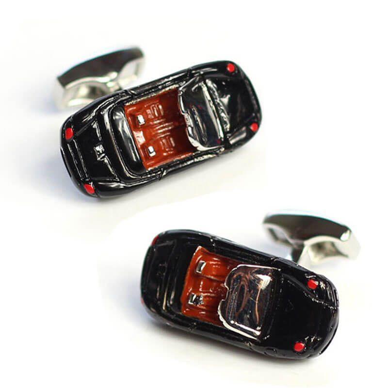 Boutons de manchette voiture de sport noire