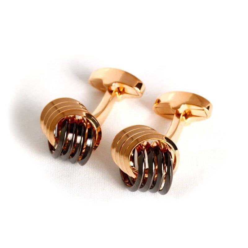 Boutons de manchette nœud marin quadruple en métal de couleur or rose et noire