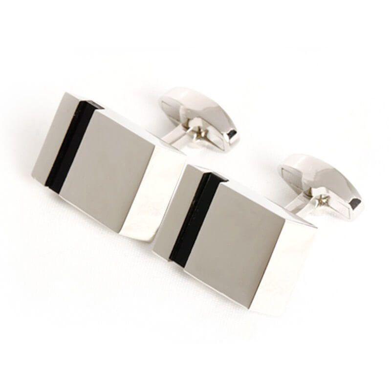 Boutons de manchette rectangle parallélépipède couleur argent à bande noire
