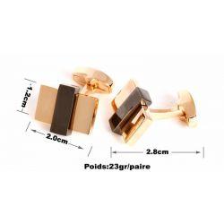 Boutons de manchette rectangles encastrés couleur or rose et noire