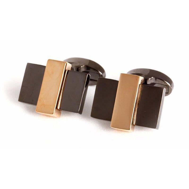 Boutons de manchette rectangles encastrés couleur noire et or rose