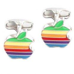 Boutons de manchette logo Apple Arc en ciel
