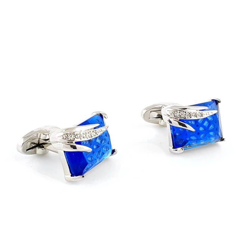 Boutons de manchette rectangle serti d'une pierre bleue