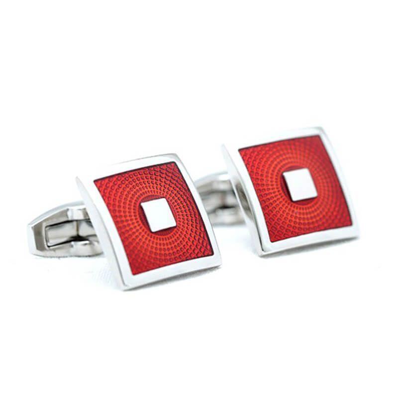 Boutons de manchette carré de couleur rouge