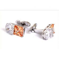 Boutons de manchette rectangle cristal de couleur orange et blanche