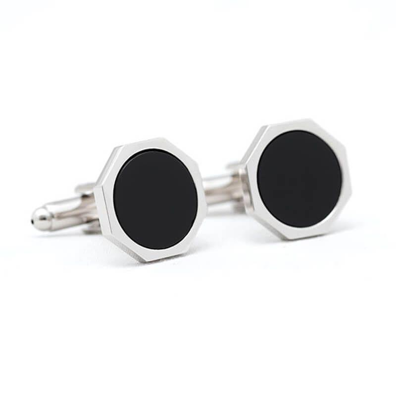 Boutons de manchette héxagonale de couleur argent et noire