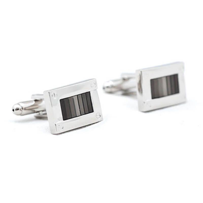 Boutons de manchette rectangle avec différentes nuances de gris