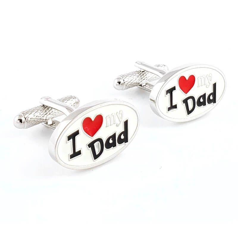 Boutons de manchette ovale I love my dad - J'aime mon père