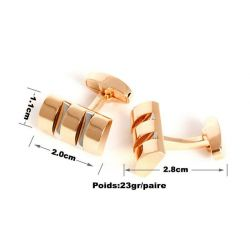 Boutons de manchette demi-cylindre dorée avec fentes grises