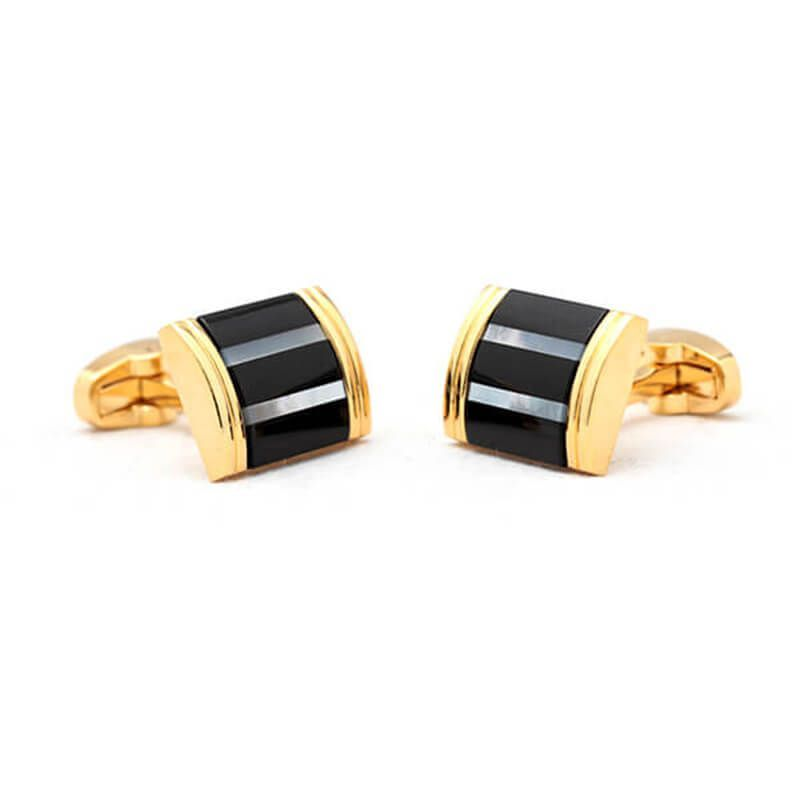 Boutons de manchette rectangle dorée avec bandes noires et nacrées
