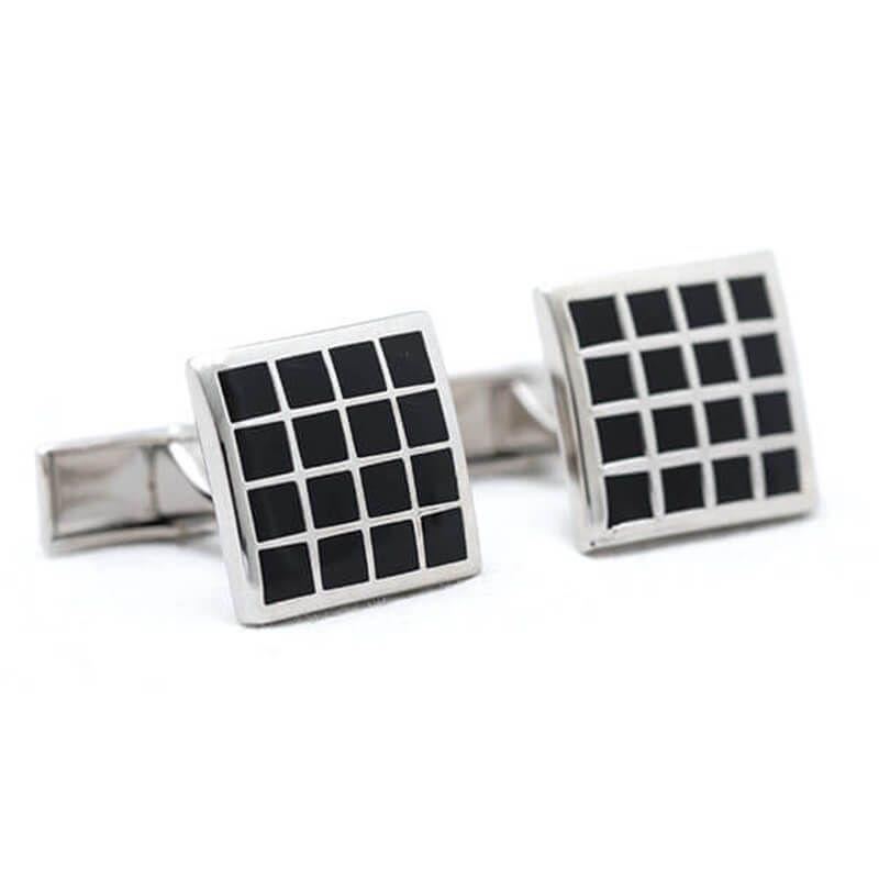 Boutons de manchette carré quadrillage noir