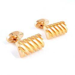 Boutons de manchette demi-cylindre dorée avec fentes