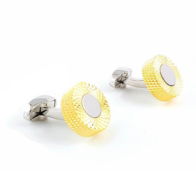 Boutons de manchette rond avec anneau doré maillé