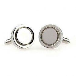 Boutons de manchette rond argenté avec anneau maillé