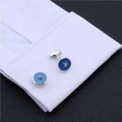 Boutons de manchette rond bleu reproduction de bouton de couture