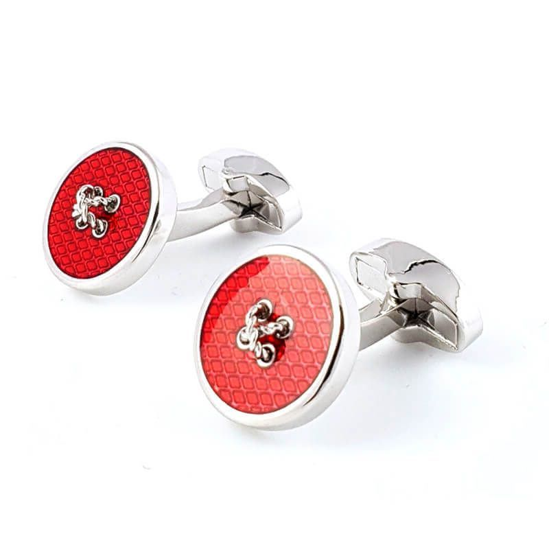Boutons de manchette rond rouge reproduction de bouton de couture