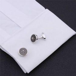 Boutons de manchette rond noir reproduction de bouton de couture