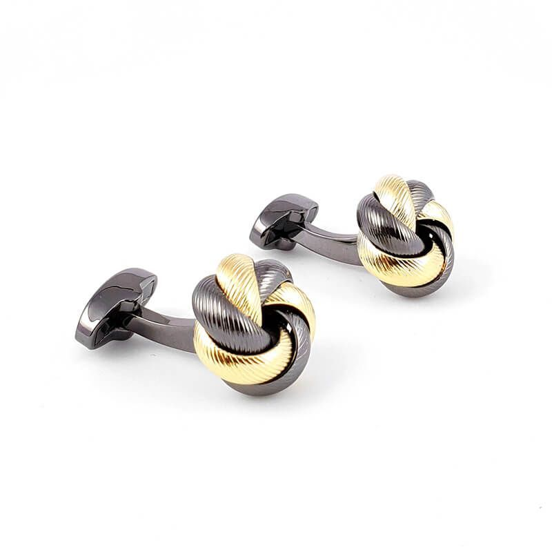 Boutons de manchette nœud rond torsadé doré et noir