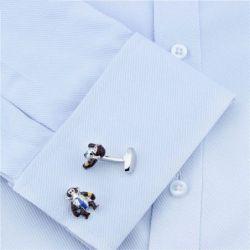 Boutons de manchette singe intelligent à cravate bleue