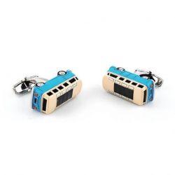 Boutons de manchette bus VW combi retro bleu et beige