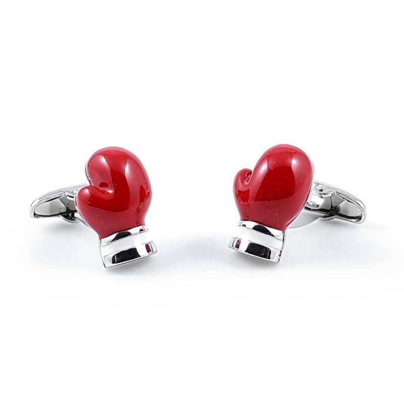 Boutons de manchette gant de boxe rouge